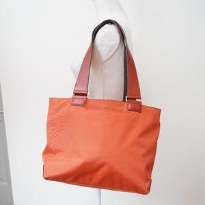 Tumi Orange Leather-Trim Nylon Tote Bag